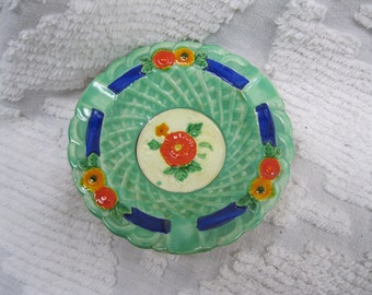 1930s Vintage Marutomoware Jadeite Green Ashtray, Trinket Dish, Catchall - made in Japan