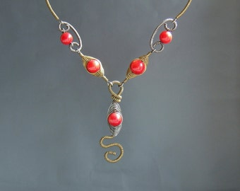 Red coral snake necklace antiqued handmade coral statement jewelry