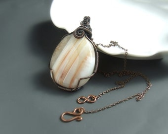 Striped carnelian necklace, natural stone copper pendant, handmade rustic pendant