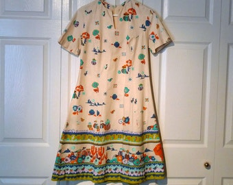 Mexican Dress Vintage Southwest Dress 1960s A Line Dress Mexico Theme Border Print Dress New Mexico Theme Short Sleeve Dress Vintage