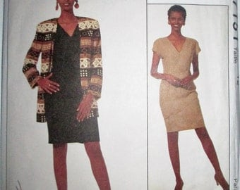 McCalls 7151 Jones New York Women's 90s Cardigan Dress Sewing Pattern Bust 34