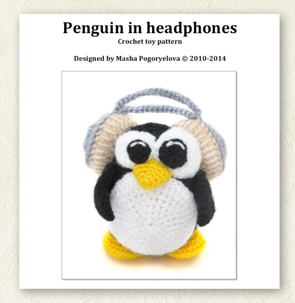 Amigurumi Headphones : Penguin Music Lover - pdf crochet toy pattern - amigurumi ...