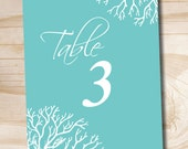 INSTANT DOWNLOAD Coral Elegance Wedding Table Numbers Turquoise 1-20, instant download 5x7