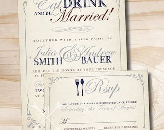 EAT DRINK and Be Married Rustic Wedding Invitation and Response Card Invitation Suite