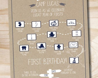 Camping First Birthday Invitation -  Printable Invitation