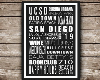 San Diego Destination Poster in Printable File - Made to Order