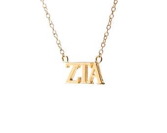 Zeta Tau Alpha Gold Vermeil Lavalier Necklace