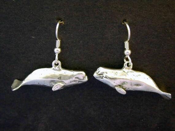 sterling silver beluga whale earrings on sterling silver