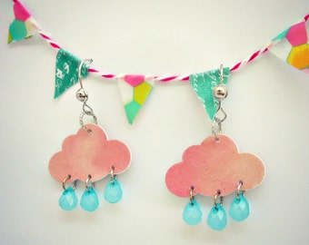 Dangle Earrings -Rosy Pink Clouds and Raindrops - The Silver Lining Collection