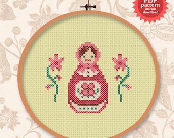 Cute Matryoshka PDF cross stitch pattern