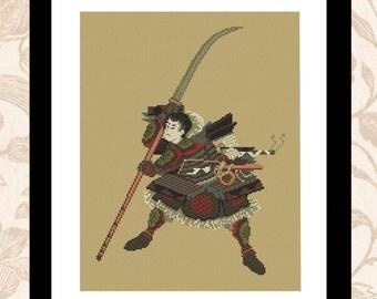 Japanese Warrior - PDF cross stitch pattern