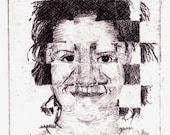 Etching of scrambled, puzzle face