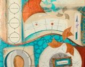The Moment, mixed-media/acrylic on canvas, map art