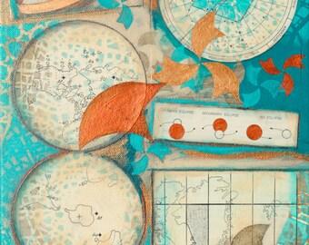 Next Summer, mixed-media/acrylic on canvas, map art