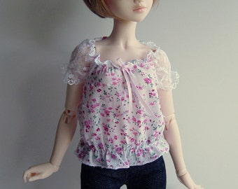 MNF/Minifee/Unoa/Slim MSD Pink Floral Lacey Sleeved Top