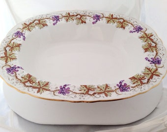 Grapevine Aynsley Oval Vegetable Bowl English Fine Bone China - ivy grape leaves leaf vines vine purple yellow white - C1182 - serving bowl