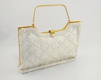 1950s Ivory Beaded Handbag