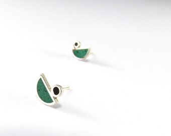Sterling Silver Earrings, Green, Black, Birds, Ear Studs, Modern, Contemporary