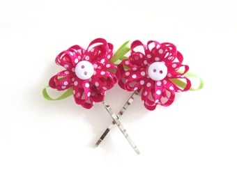 Pink Flower with Button Centre Bobby Pins - Set of Two - READY TO SHIP