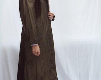 nylon coat / nylon raincoat / army green maxi length / KHAKI trench / Shoulder Pads / Lightweight /  medium