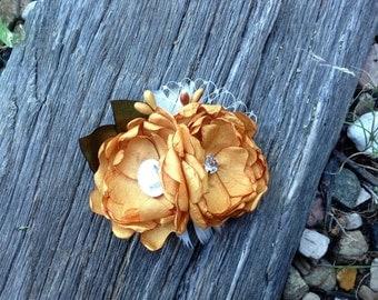 Handmade Mustard Yellow Double Bloom Fabric Hair Flower