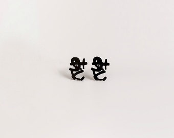 Black Studs Earrings, Small Black Stud Earrings, Japanese Love Earrings, Minimal Earring