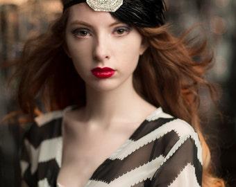 Great Gatsby Dress Headpiece, Bridesmaid Headpiece, Silver Beaded Headband, 1920s Hair Accessory for Black Charleston Flapper Dress