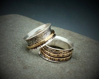 Mixed Metal Spinner Ring Worry Ring Fidget Ring Meditation Ring Sterling Silver and Gold Perfect Wedding Rings Wedding Bands