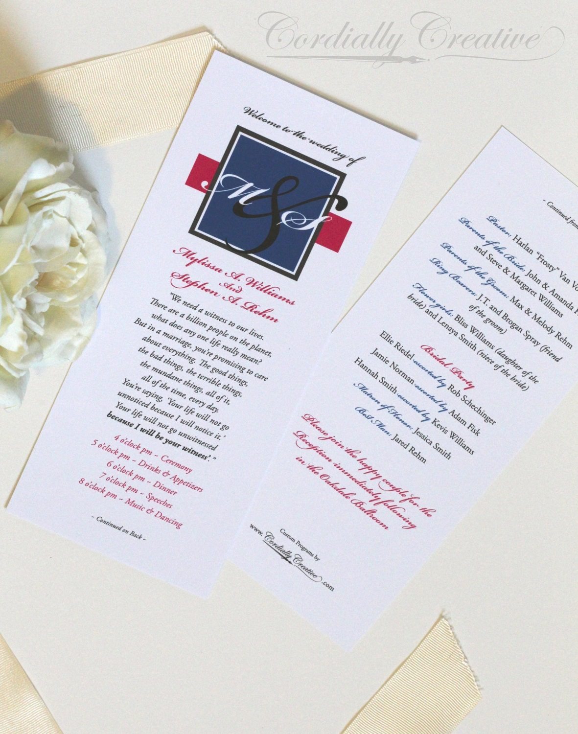 Wedding Programs Tall On White Card Stock Shown In The