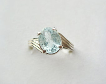 Blue Green Aquamarine In Sterling Silver Ring 2.18ct. Size 6.75