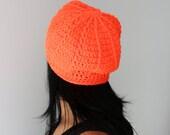 Neon Orange Spider Web Design Slouchy Hat, Orange Beret, Slouchy Beanie Hat, EDM Neon Orange Accessories