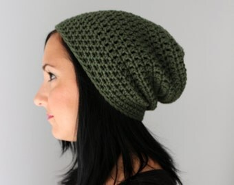 Olive Green Slouchy Beanie Hat,  Fall Fashion Accessories, The Philly Beanie in Green
