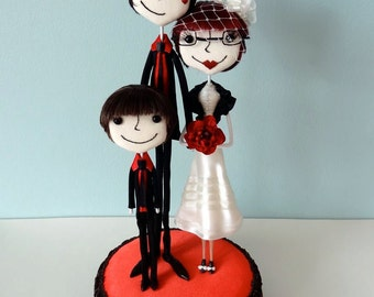 Handcrafted Super Sweet and Charming Custom Family Wedding Cake Toppers