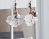 Beach glass earrings, pearl earrings, finger lakes, mothers day gift, gifts for mom, wedding jewelry, bridal jewelry, june birthstone, beach