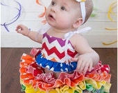 Rainbow Chevron and Polka Dot Fabric Tutu All Around  Ruffle Diaper Cover Bloomer Baby Bloomer Skirt