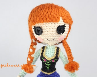 Anna Amigurumi Vol 1 : PATTERN 2-PACK: Anna and Elsa Frozen Crochet Amigurumi Dolls