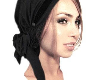 Black Tichel Head Scarf Velvet Fancy Occassions Hair Snood Chemo Hat Chemo Cap Wrap Turban Pre Tied Bandana Black Velvet Buttons - 005