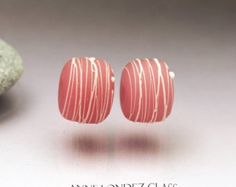 Pink bead pair Pink lampwork bead pair Pink Earring pair Pink matte glass beads Pink etched round beads cocoon Anne Londez SRA OOAK