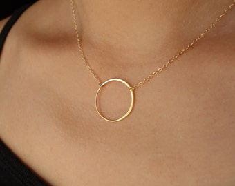 Eternal Circle Necklace Sterling Silver or Gold Large Circle Necklace Hoop Necklace Infinity Bridal Circle Wedding Jewelry, 23