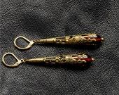 Steampunk Earrings, Victorian Steam Punk Earrings, Red Earrings, Filigree Dangle Earrings, Brass Steampunk Jewelry By Victorian Curiosities