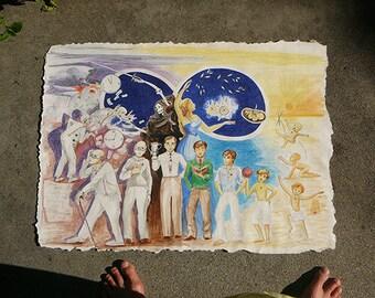 Eternal circle of life Vedic vision Samsara cycle of birth and death wall art prints from pencil drawing Syamarts