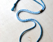 Shield Necklace - Matte Brass on Handwoven Cotton Rope - Hand Dyed
