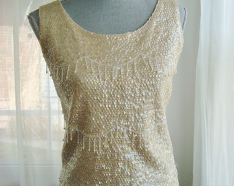 1960's Ivory Sequined and Beaded Evening Cocktail Top, Size Medium