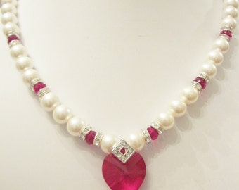Swarovski Pearl and Crystal Necklace - White Swarovski Pearls and Red Siam Crystal Heart - Weddings, Brides, Bridesmaids