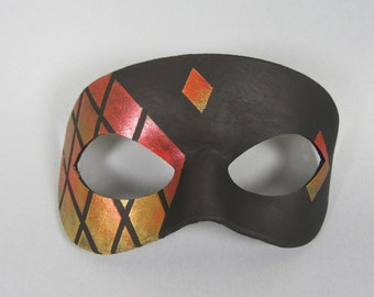 Red, Bronze, and Gold Stained Glass Tiled Leather Masquerade Mask, Unisex