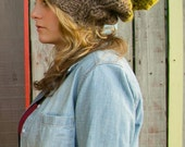 Color Block Pom Pom Hat- Taupe and Cilantro
