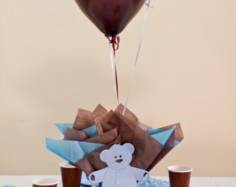 Brown & Blue Baby Shower Decorations - Teddy Bear Baby Shower Balloon Centerpieces, Personalized Teddy Bear Table Decorations - Light Blue