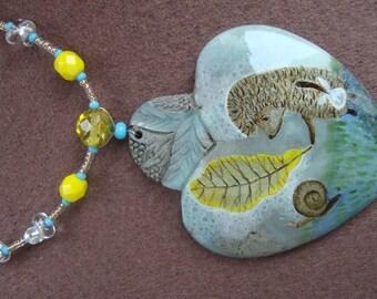 FREE SHIPPING Hand painted stone   Pendant blau