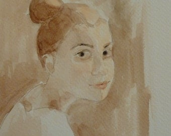 "Original Portrait  Painting: ""Endearing""-  Watercolor 4.5 x 6.5 inches. Matted and framed 9x11."