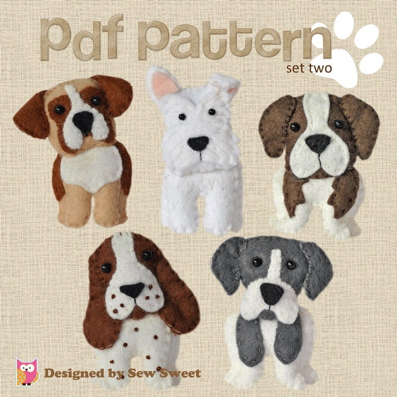 Cute Plush Dogs Sewing Pattern Set Two Instant Download Felt